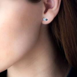 Boucles D'oreilles Puces Yelena Or Blanc Diamant - Boucles d'Oreilles Coeur Femme   Histoire d'Or