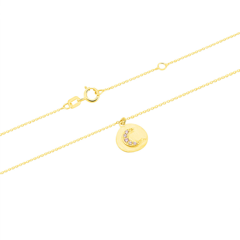 Collier Flauriane Or Jaune Oxyde De Zirconium - Colliers Lune Femme   Histoire d'Or