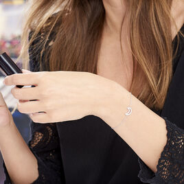 Bracelet Argent Rhodie Elisa Lune Oxyde - Bracelets Lune Femme   Histoire d'Or