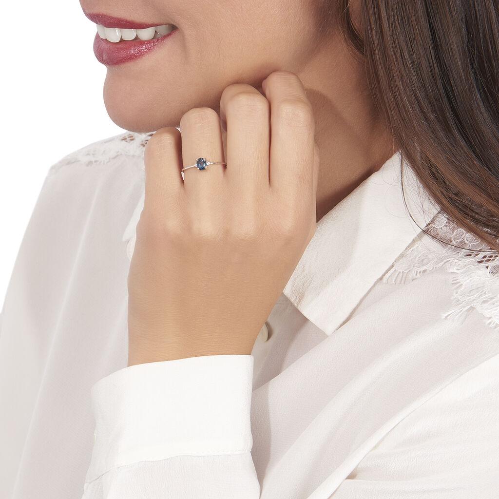 Bague Janah Or Blanc Topaze Et Oxyde De Zirconium - Bagues avec pierre Femme   Histoire d'Or