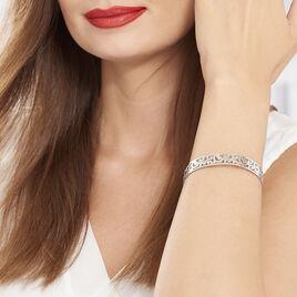Bracelet Jonc Leylia Acier Blanc - Bracelets fantaisie Femme | Histoire d'Or