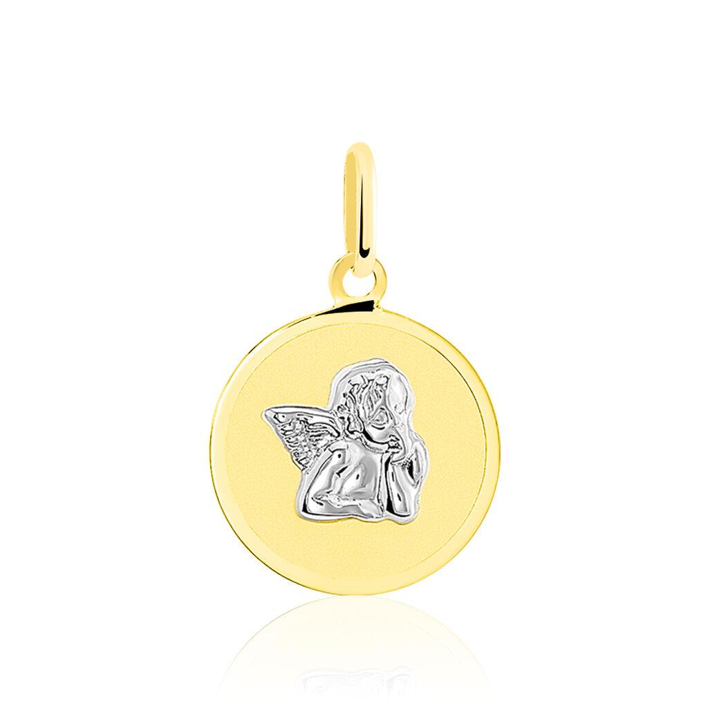Pendentif Ange Rond Or Bicolore - Naissance Enfant   Histoire d'Or