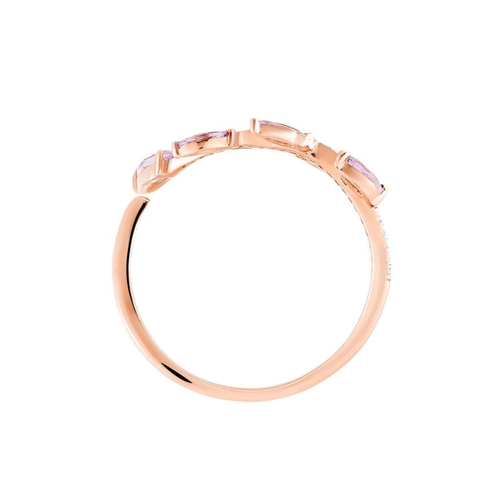 Bague Sevimae Or Rose Amethyste Diamant - Bagues Plume Femme | Histoire d'Or
