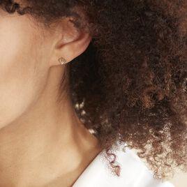Boucles D'oreilles Puces Eleanor Fleur Or Jaune Oxyde De Zirconium - Clous d'oreilles Femme | Histoire d'Or