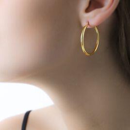 Créoles Verania Lisses Fil Rond Or Jaune - Boucles d'oreilles créoles Femme | Histoire d'Or