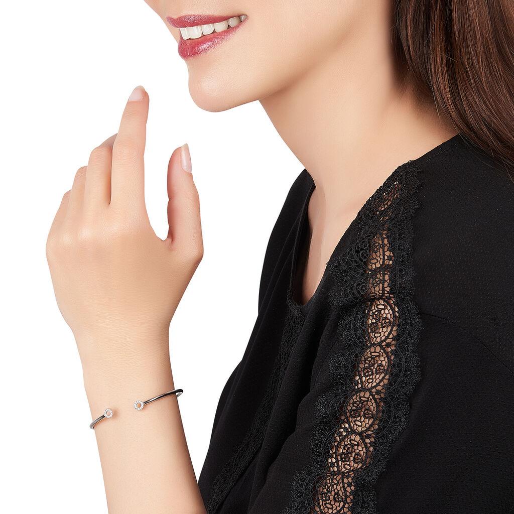 Bracelet Jonc Danae Argent Blanc Oxyde De Zirconium - Bracelets fantaisie Femme   Histoire d'Or