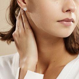 Boucles D'oreilles Puces Classic Or Blanc Oxyde De Zirconium - Clous d'oreilles Femme | Histoire d'Or