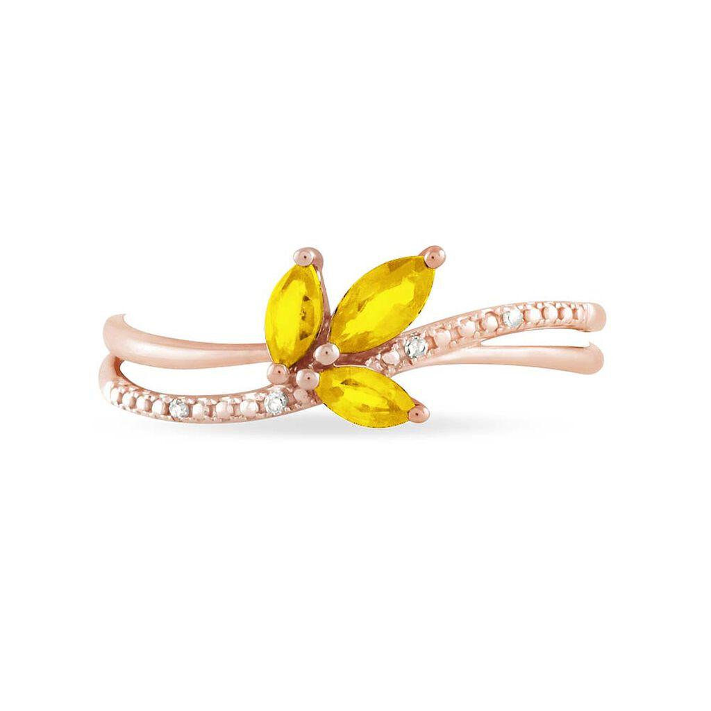 Bague Maura Or Rose Citrine Et Diamant - Bagues avec pierre Femme   Histoire d'Or