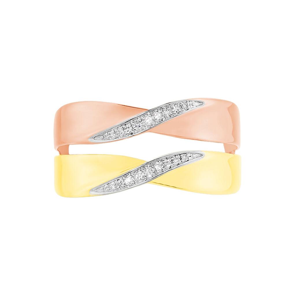 Bague Salima Or Bicolore Diamant - Bagues avec pierre Femme   Histoire d'Or