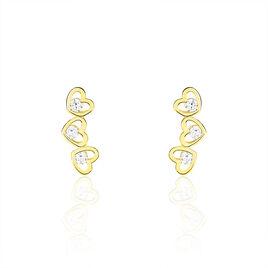 Boucles D'oreilles Puces Or Jaune Cœur - Boucles d'Oreilles Coeur Femme | Histoire d'Or
