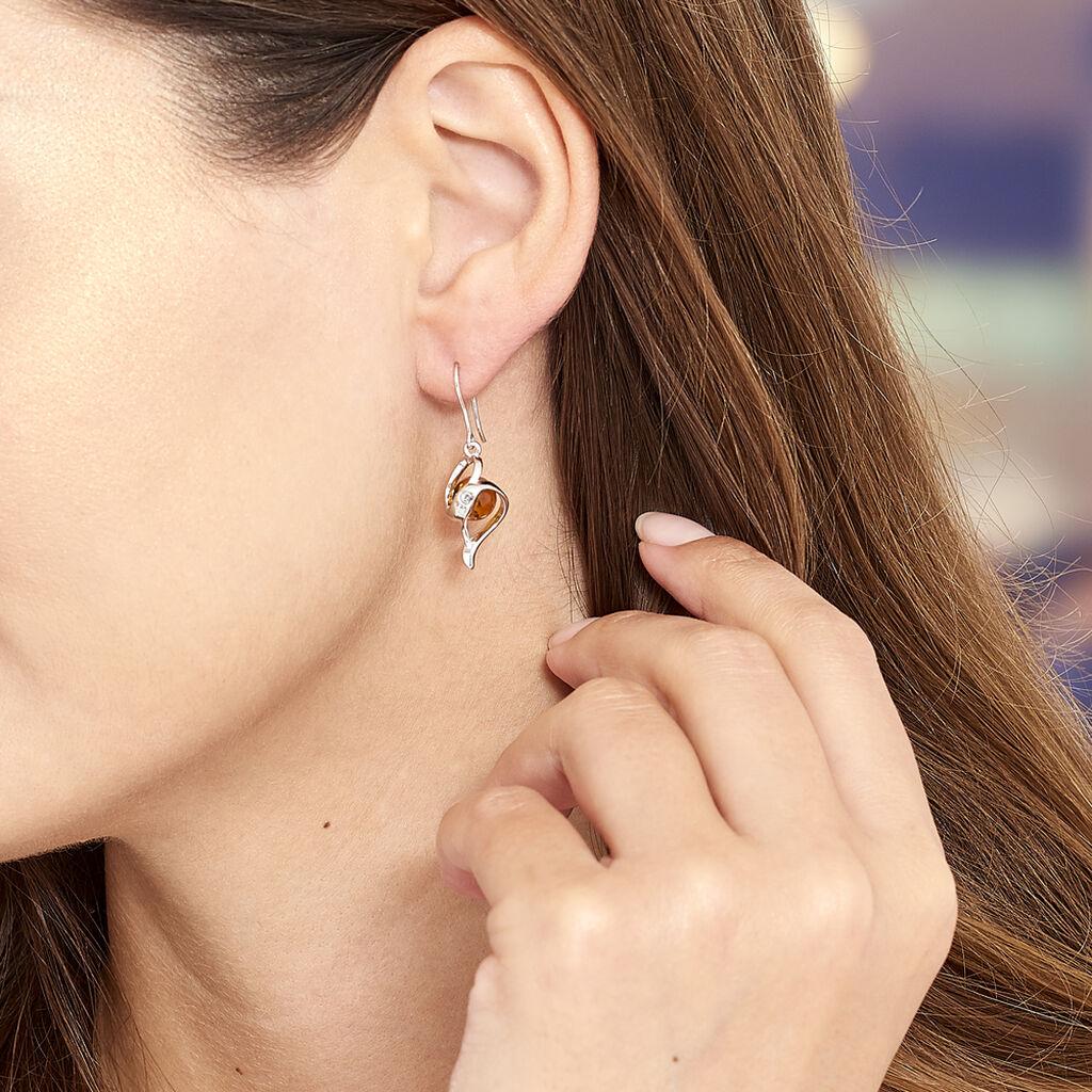 Boucles D'oreilles Pendantes Hilarionne Argent Blanc Ambre - Boucles d'oreilles fantaisie Femme   Histoire d'Or