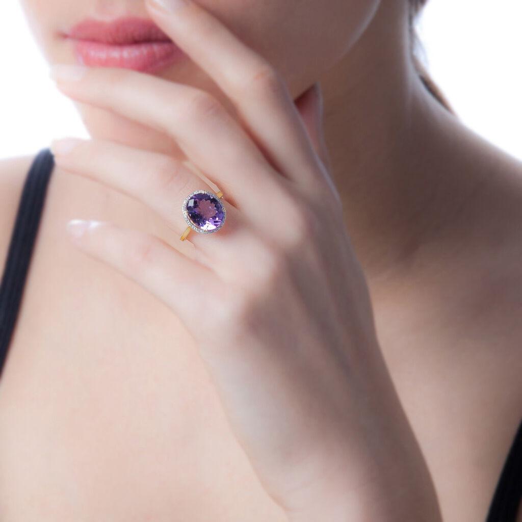 Bague Anna Or Jaune Amethyste Et Diamant - Bagues avec pierre Femme   Histoire d'Or