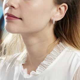 Créoles Elvera Rondes Argent Blanc Oxyde De Zirconium - Boucles d'oreilles créoles Femme   Histoire d'Or
