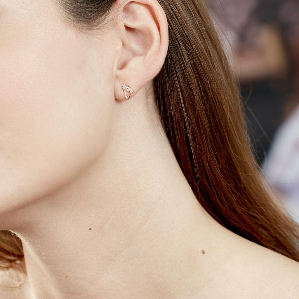 Boucles D'oreilles Puces Zenia Argent Rose - Boucles d'oreilles fantaisie Femme | Histoire d'Or