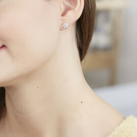 Boucles D'oreilles Puces Cyriac Argent Blanc Oxyde De Zirconium - Boucles d'oreilles fantaisie Femme | Histoire d'Or