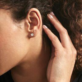 Boucles D'oreilles Puces 4 Griffes Or Blanc Diamant Synthetique - Clous d'oreilles Femme | Histoire d'Or