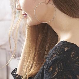 Créoles Djoe Flexible Rondes Or Blanc - Boucles d'oreilles créoles Femme | Histoire d'Or