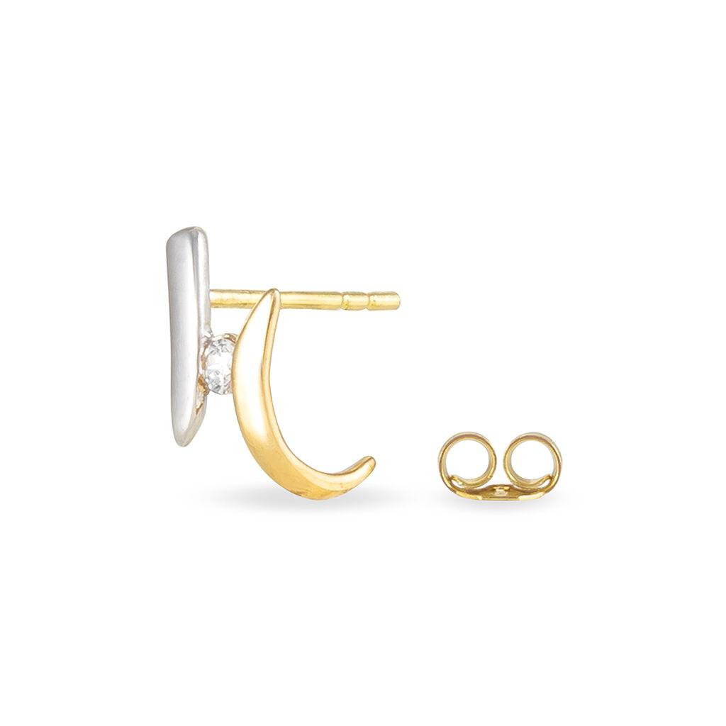 Boucles D'oreilles Pendantes Ascagne Or Bicolore Oxyde De Zirconium - Boucles d'oreilles pendantes Femme   Histoire d'Or