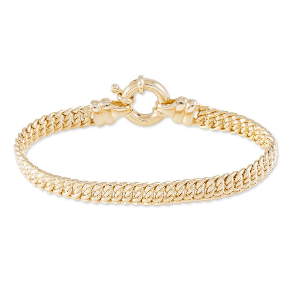 Bracelet Violette Maille Americaine Plaque Or Jaune - Bracelets chaîne Femme | Histoire d'Or