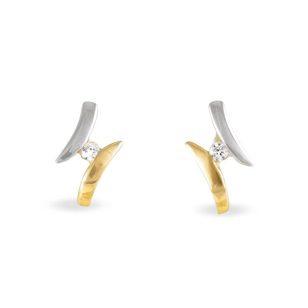 Boucles D'oreilles Pendantes Ascagne Or Bicolore Oxyde De Zirconium - Boucles d'oreilles pendantes Femme | Histoire d'Or