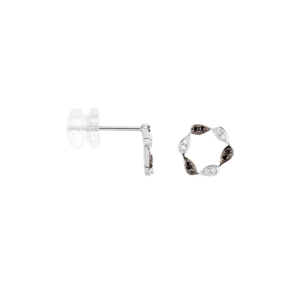 Boucles D'oreilles Or Blanc Enisa Et Diamant - Clous d'oreilles Femme | Histoire d'Or