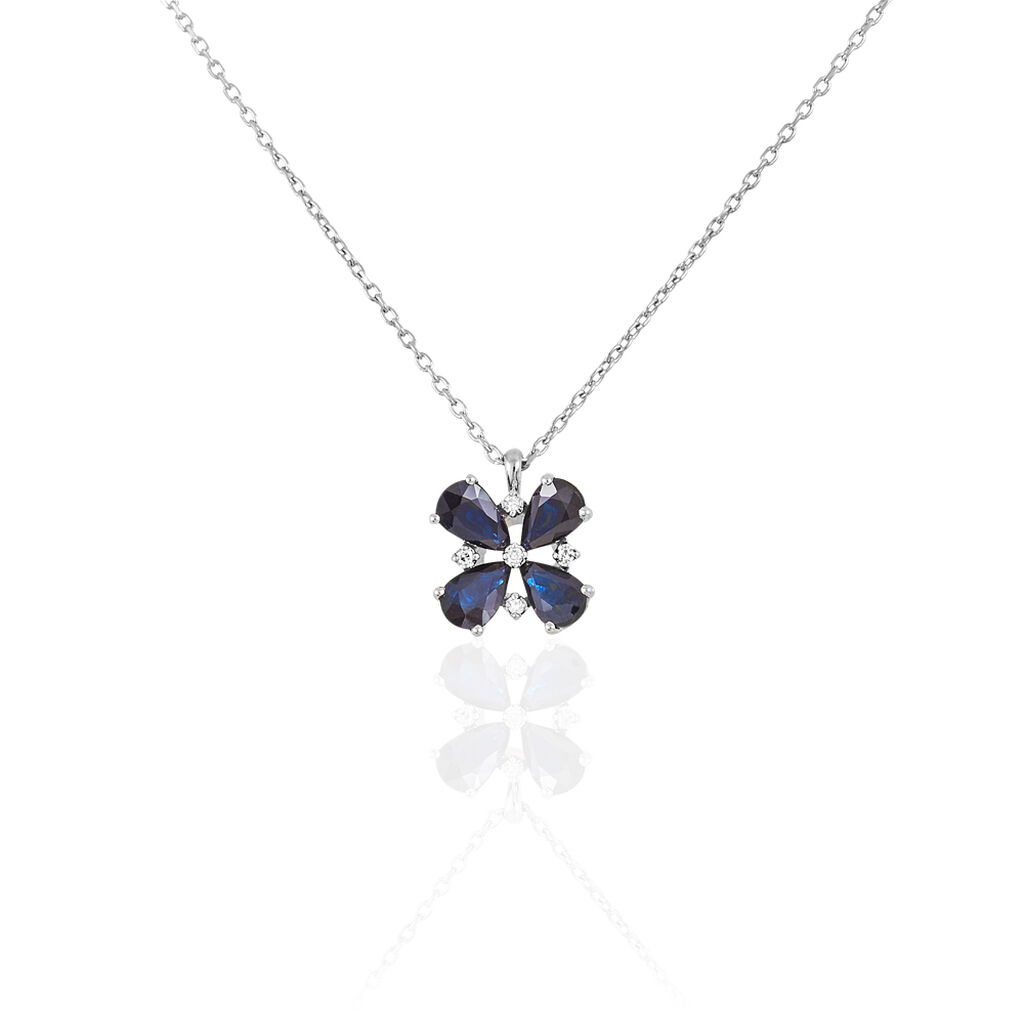 Collier Or Blanc Saphir Diamant - Bijoux Femme   Histoire d'Or