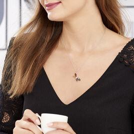 Collier Libellule Argent Blanc Ambre - Colliers fantaisie Femme | Histoire d'Or