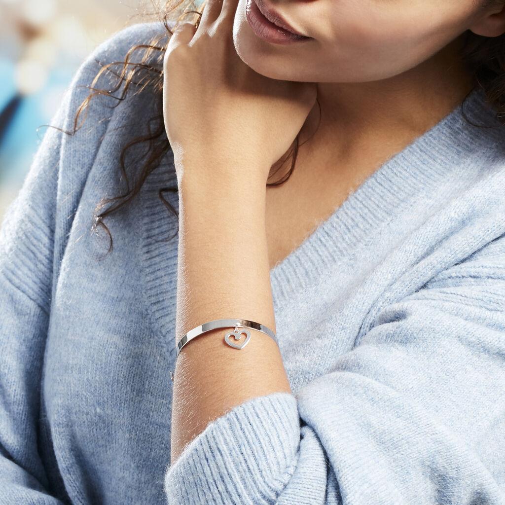 Bracelet Jonc Sally Argent Blanc - Bracelets Coeur Femme | Histoire d'Or