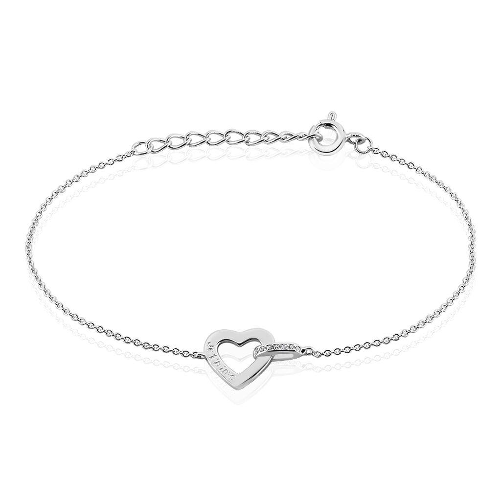 Bracelet Elanda Argent Blanc Oxyde De Zirconium - Bracelets Coeur Femme   Histoire d'Or