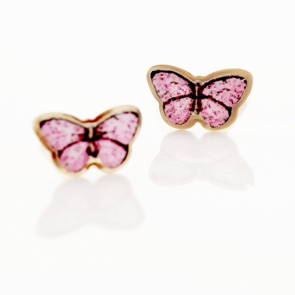 Boucles D'oreilles Puces Sulivia Papillon Or Jaune - Boucles d'Oreilles Papillon Enfant | Histoire d'Or