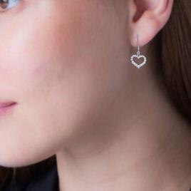 Boucles D'oreilles Pendantes Nermin Argent Blanc Oxyde De Zirconium - Boucles d'Oreilles Coeur Femme | Histoire d'Or