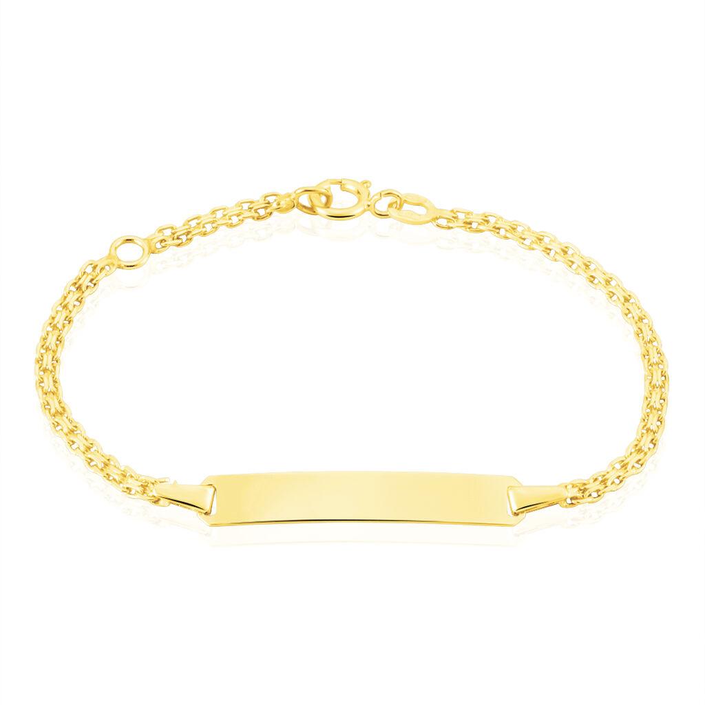 Bracelet Identité Euphenia Maille Bismark Or Jaune - Bracelets Communion Enfant   Histoire d'Or