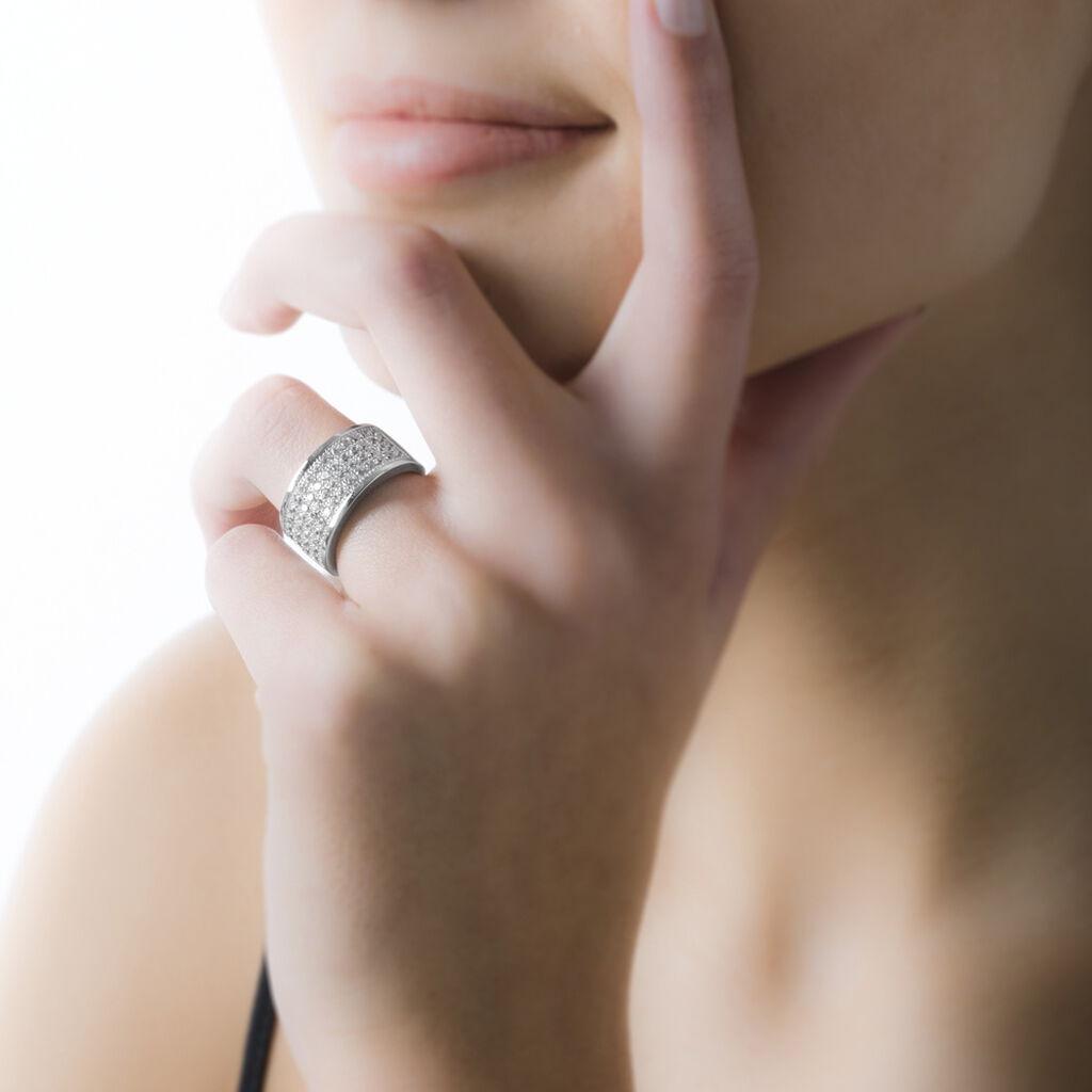 Bague Cecelia Argent Blanc Oxyde De Zirconium - Bagues avec pierre Femme   Histoire d'Or