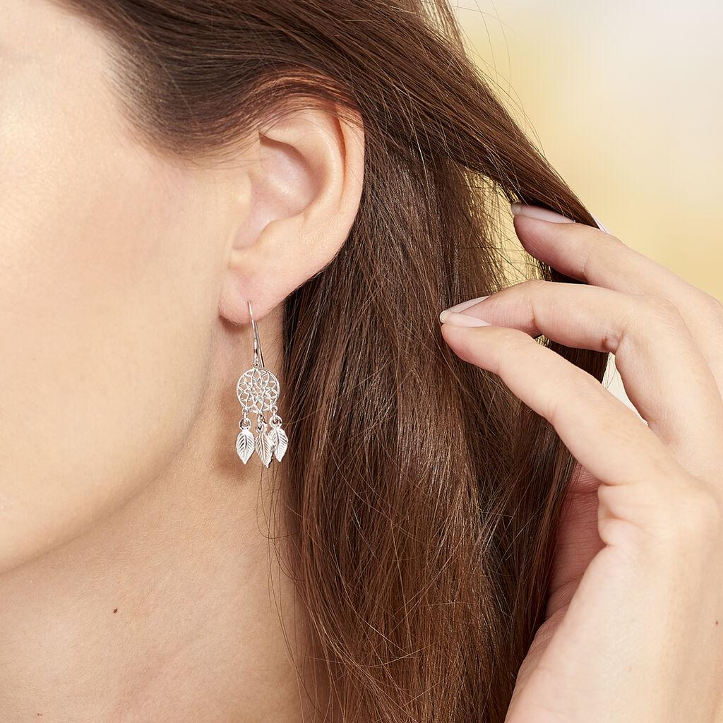 Boucles D'oreilles Pendantes Ida Argent Blanc - Boucles d'Oreilles Attrape rêves Femme   Histoire d'Or