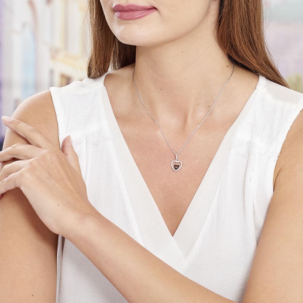 Collier Yelin Argent Blanc Oxyde De Zirconium - Colliers Coeur Femme | Histoire d'Or