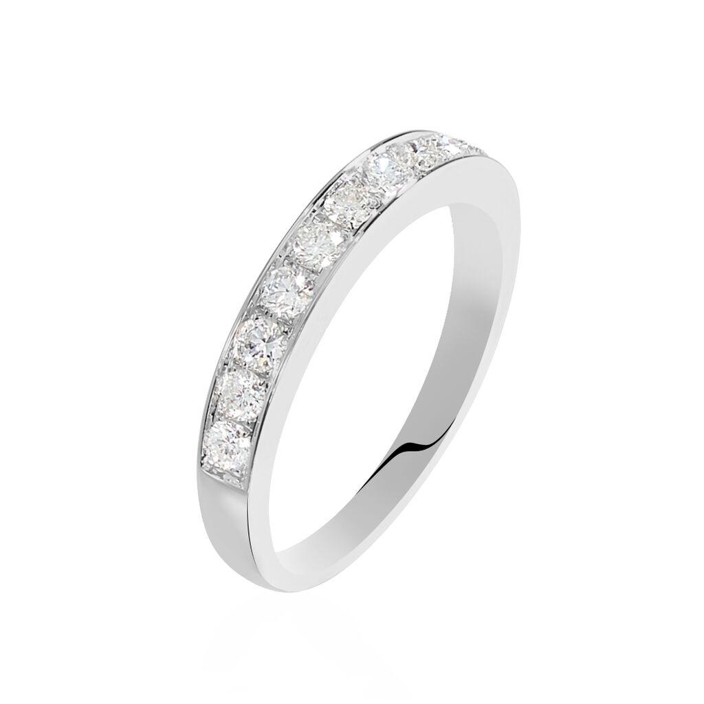 Demi-alliance Or Blanc Valentine Diamants Synthetique - Alliances Femme | Histoire d'Or