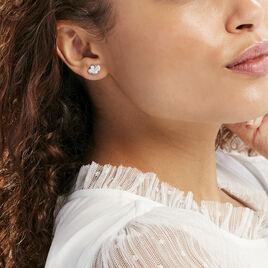 Boucles D'oreilles Puces Flamen Argent Blanc Oxyde De Zirconium - Boucles d'Oreilles Coeur Femme | Histoire d'Or