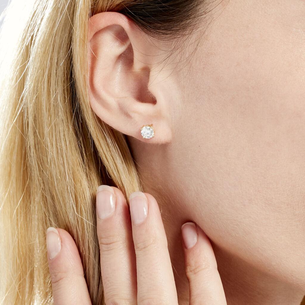 Boucles D'oreilles Puces 4 Griffes Or Jaune Diamant Synthetique - Clous d'oreilles Femme | Histoire d'Or