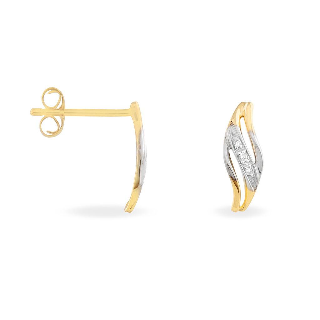 Boucles D'oreilles Puces Hue Or Jaune Diamant - Boucles d'oreilles pendantes Femme   Histoire d'Or