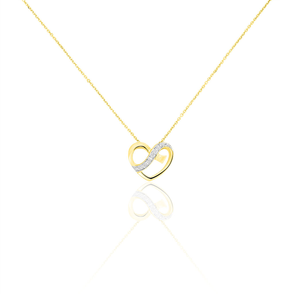 Collier Juliane Or Jaune Diamant - Colliers Coeur Femme   Histoire d'Or