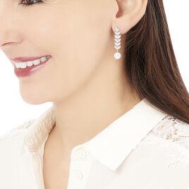 Boucles D'oreilles Pendantes Epiphania Or Blanc Oxyde Perle Culture - Boucles d'oreilles pendantes Femme | Histoire d'Or