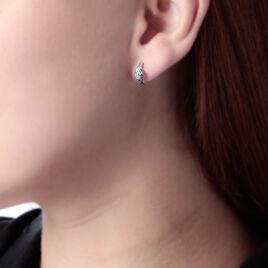 Boucles D'oreilles Puces Sculptural Or Blanc Diamant - Clous d'oreilles Femme   Histoire d'Or