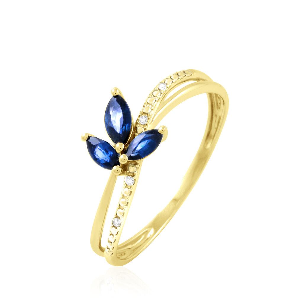 Bague Maura Or Jaune Saphir Et Diamant - Bagues avec pierre Femme   Histoire d'Or
