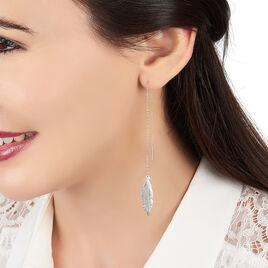 Boucles D'oreilles Pendantes Soline Or Jaune - Boucles d'Oreilles Plume Femme | Histoire d'Or