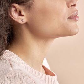 Boucles D'oreilles Puces Edma Or Rose Oxyde De Zirconium - Clous d'oreilles Femme   Histoire d'Or