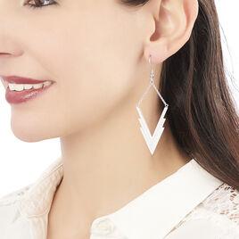 Boucles D'oreilles Pendantes Silvere Acier Blanc Oxyde De Zirconium - Boucles d'oreilles fantaisie Femme   Histoire d'Or
