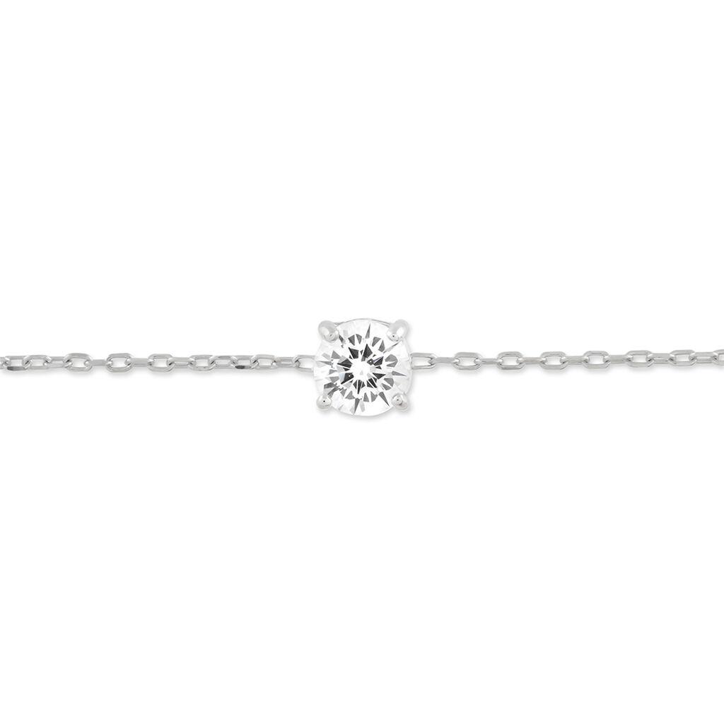 Bracelet Solitaire Argent Blanc Oxyde De Zirconium - Bracelets fantaisie Femme | Histoire d'Or