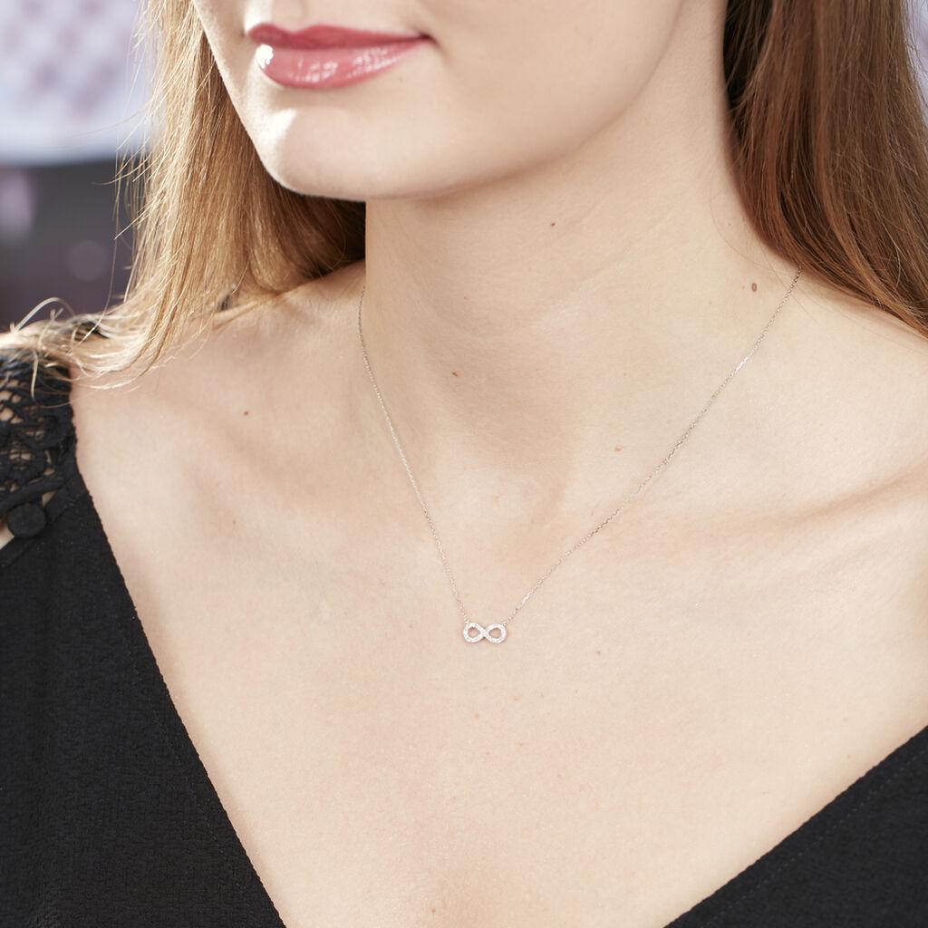Collier Klothilda Or Blanc Oxyde De Zirconium - Colliers Infini Femme   Histoire d'Or