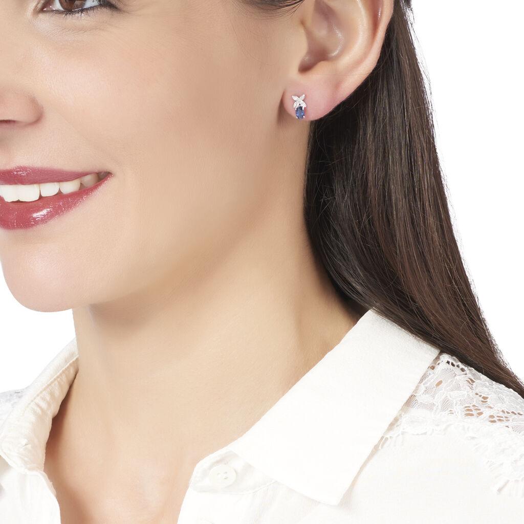 Boucles D'oreilles Puces Andrey Or Blanc Saphir Et Diamant - Boucles d'Oreilles Croix Femme | Histoire d'Or