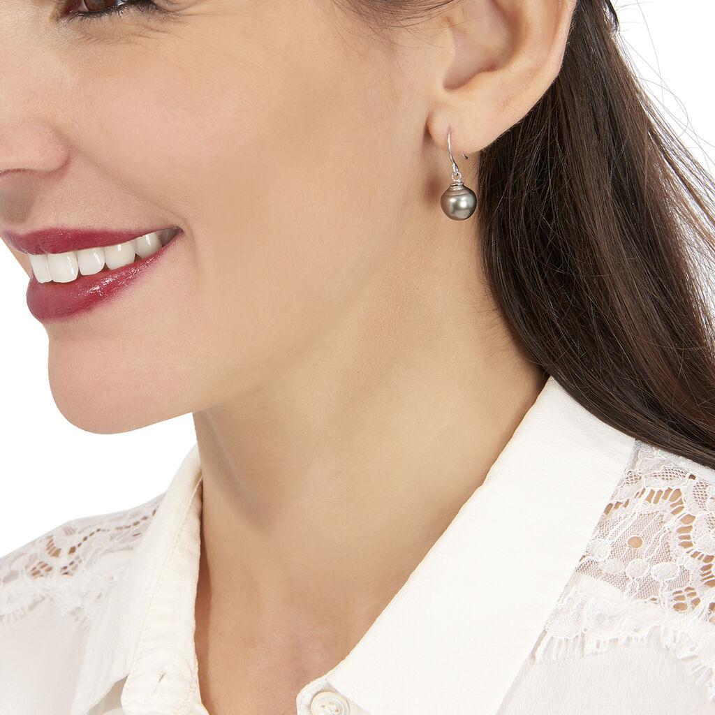 Boucles D'oreilles Pendantes Elitivae Or Blanc Perle De Tahiti - Boucles d'oreilles pendantes Femme | Histoire d'Or